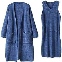 Luckycat Vestido de suéter sólido de Punto de Manga Larga de Invierno de Mujer + Abrigo