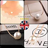 Simple Pearl Necklace Gold Chain Pendant Necklace Jewellery Vintage Ladies Fashion (Simple Pearl Necklace )