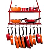 INDIAN Sterline Shelf Pot Rack Wall Mounted Pan Hanging Racks 2 Tire (Red)