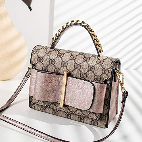 LFGCL Taschen womenPrinted Contrast Small Square Bag Gewebte Handtasche Schulter Messenger Old Flower Bag, Pink