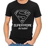 Camiseta Personalizada 'Superpadre' Negra en Todas Las Tallas - Regalo para el día del Padre