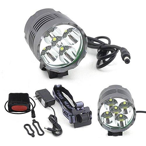 Lanlan 5600LM Fahrradlampe mit Akku Pack und Ladegerät Set für Camping Wandern Outdoor Sports 3Modi Super Hell 5x T6LED Fahrradlicht Scheinwerfer, - Für Pack Akku Cree Licht Fahrrad