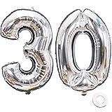 Jurxy Luftballon Zahl 30 Silber Geburtstag Folienballon Helium Folie Luftballons für Geburtstag Jubiläum 40 Zoll - Riesenzahlen #30
