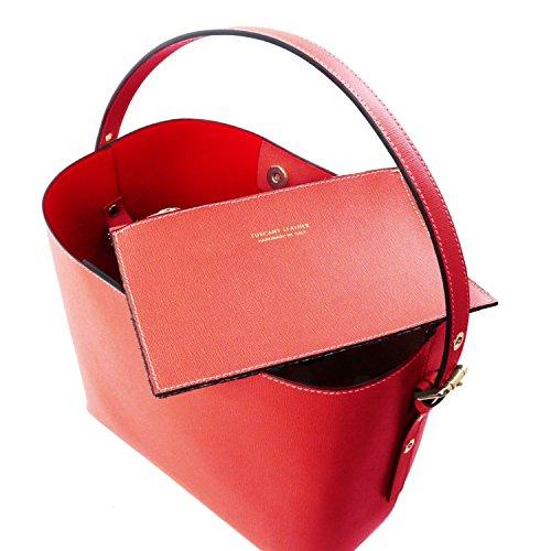 Tuscany Leather Arianna - Borsa secchiello da donna in pelle Saffiano con pochette interna - TL141613 (Nero) Rosso