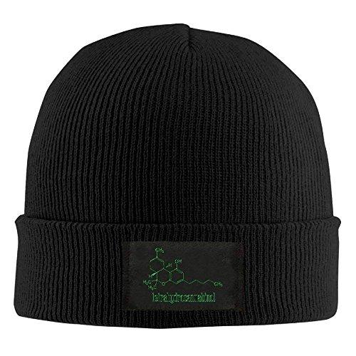 Preisvergleich Produktbild hanbaozhou Hüte,Kappen Mützen THC Molecule Weed Cannabis Unisex Knit Beanie Hat 100% Acrylic Daily Warm Soft Hats Navy