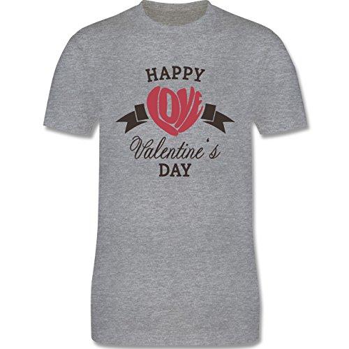 Valentinstag - Happy Valentine's Day Herz Love Typographie - Herren Premium T-Shirt Grau Meliert