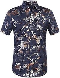 SSLR Camisa Regular Fit Manga Corta para Hombre Casual Retro de Flores