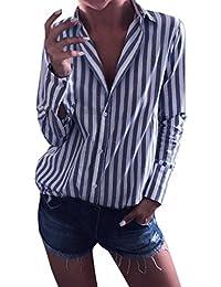 Mujer blusa camiseta tops manga larga casual moda2018,Sonnena Blusa de gasa de las mujeres dividir v cuello con mangas manga blusas a rayas camisas tops fiesta playa
