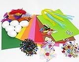 CREAVVEE® Jumbo Bunter Bastelmix mit 1000 Teilen, diverse Bastel-Materialien