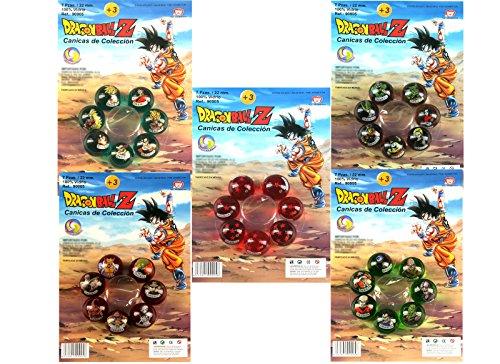 Outletdelocio Coleccion completa bolas Dragon Ball Z. Set de 35 canicas de cristal de 22mm de diametro.