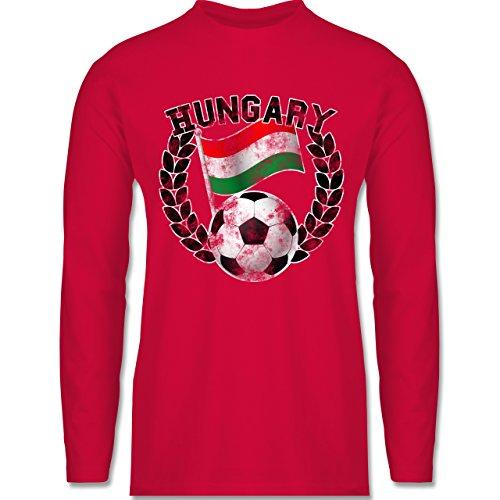 Shirtracer Fußball - Hungary Flagge & Fußball Vintage - Herren Langarmshirt Rot