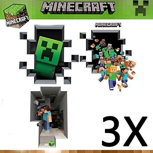3er Minecraft Wandtattoo 3D Wandsticker Wandaufkleber Wandbild Deko 3 Motiv 70x50 cm