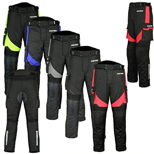 REXTEK Motorradhose - Motorrad Wasserdichte abnehmbare Cordura Textil Große Taschenhose Lange Hosen Rüstung Gepanzert Für Herren Jungen Erwachsene - Größe 3XL -Black 29 Leg -