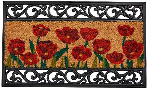William Armes Kokos-Fußmatte mit Gusseisen-Effekt und Mohn-Motiv, 75 x 45cm