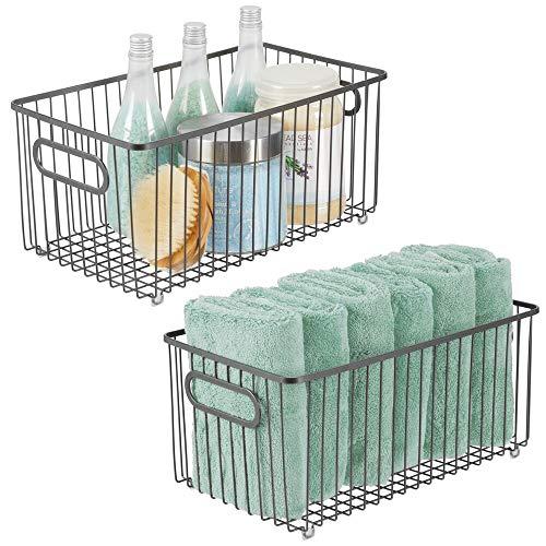 mDesign 2er-Set Metall Ablagebox mit integrierten Griffen - extragroße Aufbewahrungsbox mit ansprechendem Drahtdesign - Box zur Kosmetikaufbewahrung im Bad - grau -
