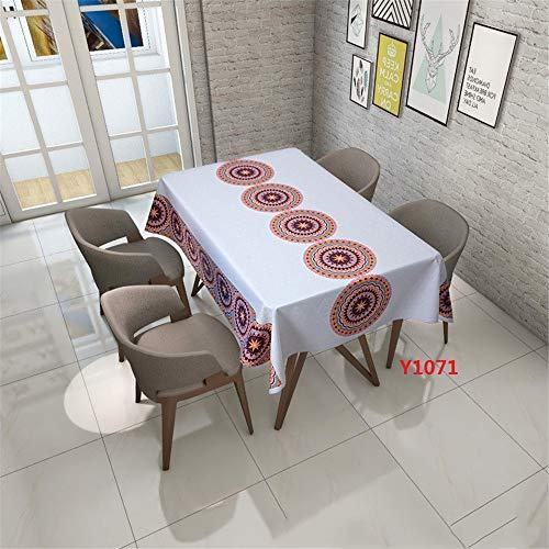 QWEASDZX Tischdecke Digitaldruck Mandalas Tischdecken rechteckiger Tisch Ölbeständige und wasserdichte Tischdecke rutschfeste Küchentischdecke Wiederverwendbar 140x180cm