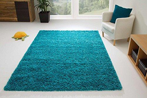 shaggy hochflor design teppich dunkelblau recheckig form
