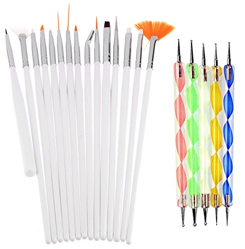 Lifestyle - You Combo Offer of Nail Dotting Marbelizing Tool Set & Nail Art Brush Set. Nail Decoration Stamping.