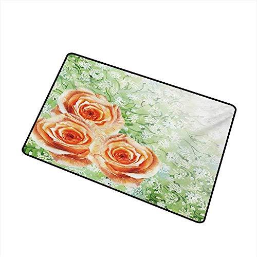 Kinhevao Aquarell-Blumen-Handelsklasse-Eingangsmatte Hand gezeichnete alte persische Rosen auf Gras-beständigem botanischem Grafik-Druck für Eingänge, Garagen, Patios, orange grüne Badematte - Grafik Alter Druck