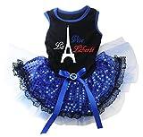 petitebelle Puppy Kleidung Kleid La Vive liberfe schwarz Top Blau Pailletten Spitze Tutu