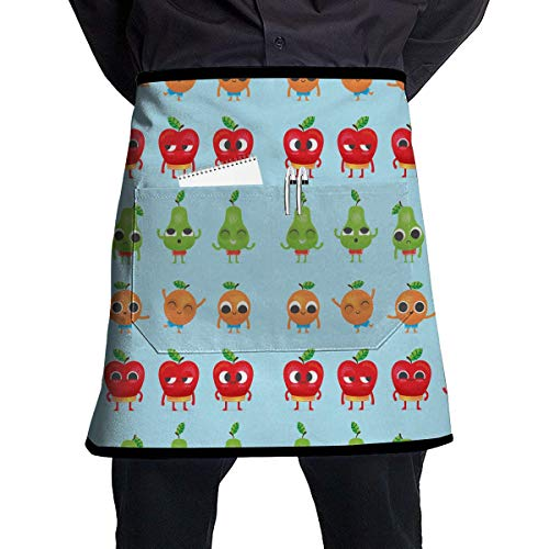 ferfgrg Lovely Apple Print Kitchen Waist Apron,Unisex Home Half Waist Cooking Grilling Bib Aprons with Pocket and Adjustable Waist Progressive Apple