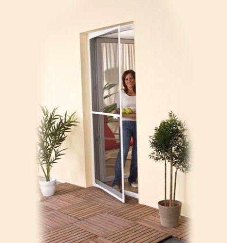 Moustiquaire pour porte - Anti-insectes - Cadre Aluminium - 100x215cm - Blanc