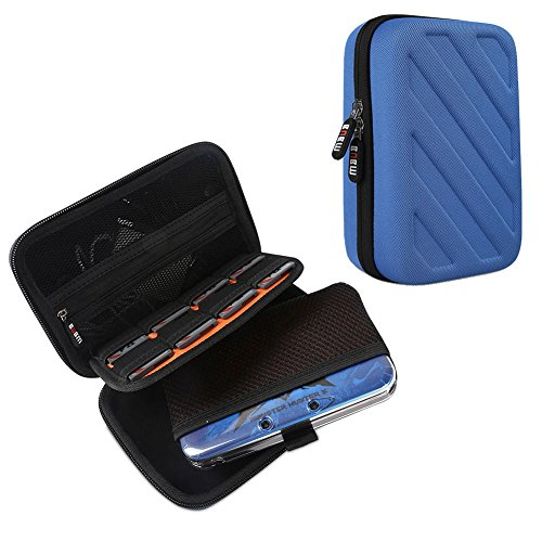 BUBM Kopfhörer New 3DS/3DS XL/3DS LL Travel Game Schutzhülle -, der Fall für NEW Nintendo DS Gaming Konsole-Hard Eva Nintendo 3DS Tasche mit 8Spiel Patronen Halter Dodger Blue