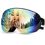 Odoland Rahmenlose Snowboardbrillen-Scheibe 400 UV-Schutz und Beschlagfrei - Haftung durch Magnet für Kinder (Orange)