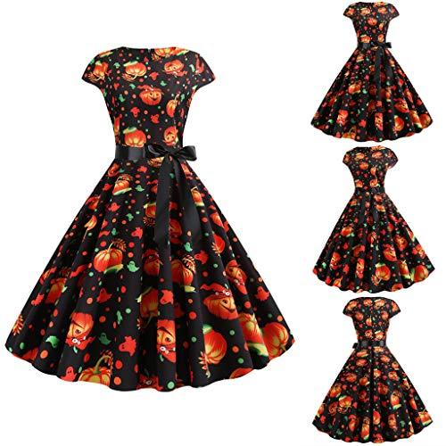 Smonke Freizeit Mode Halloween Damen Neu Kürbis Bow Drucken Kleid Rundhalsausschnitt Großes Pendel Elegant Reißverschluss Party Kleid
