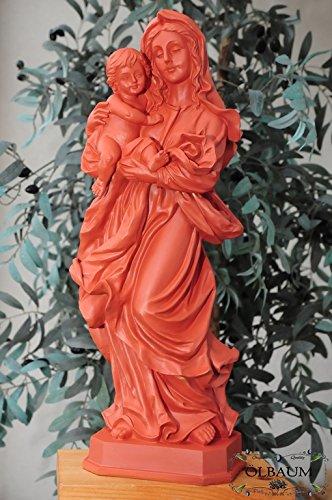 12 - 13 cm,terracotta Optik-braun, Schöne große Madonna, Liebevolle Frau Mutter Jesu, Madonna Mutter Gottes mit lustigem, aufgeweckten Jesus-Kind, mit Kleid / Umhang, als uraltes Symbol des christlichen Glaubens - alle ÖLBAUM HEILIGEN- und Krippenfiguren zeichnen sich durch extrem sauber gearbeitete und präzise Gesichtszüge der Figuren aus, massive, langlebige colorierte Holzfiguren- bzw. Echtholzimitate und standfest, mit Sockel