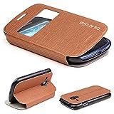 Urcover Galaxy S3 mini Handyhülle Original View Hülle Case für das Samsung Galaxy S3 mini Schutzhülle Schale Etui Cover [DEUTSCHE MARKE] Braun