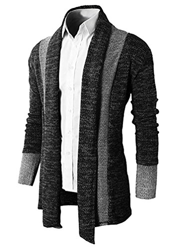 Brinny Herren Strickjacke Open Jacke Lang Cardigan Knit Mantel Strick Jacke Hoodie Hoody Sweatshirt Sweatblazer, schwarz Gr. S (Herstellergroesse M)