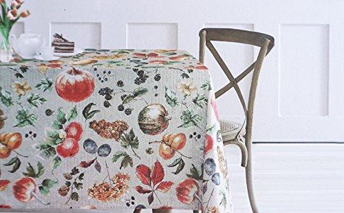 Stoff Tischdecke 152,4x 259,1cm Herbst Ernte Obst Fall Thanksgiving, EnVogue Home 100% Baumwolle Trauben Pflaumen Kürbisse Blätter -