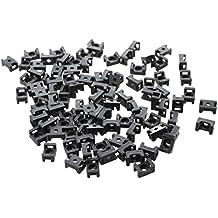 SODIAL(R) Negro - 4.5mm Ancho Base Soporte para Cable Tipo de Silla x 100