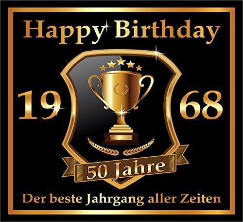 3 St. Aufkleber Original RAHMENLOS® Design: Selbstklebendes Flaschen-Etikett zum 50. Geburtstag: 1968 Der beste Jahrgang