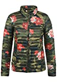 JACQUELINE de YONG by Only Britta Damen Steppjacke Übergangsjacke Jacke mit Stehkragen und Blumen-Muster, Größe:L, Farbe:Grape Leaf