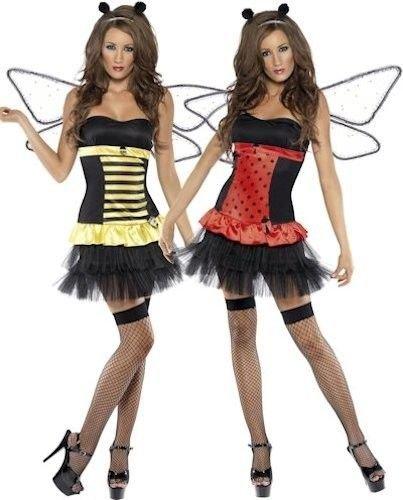 SMIFFY 'S Fever Reversible Bumble Bee Lady Bug Marienkäfer Damen Fancy Kleid (Bumble Bee Marienkäfer Kostüme)
