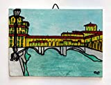 Ponte vecchio,Firenze-Dipinto su cartoncino telato,dimensioni cm 18x13x0,3 cm,tecnica mista acrilico,aquarello,pronto per essere appeso alla parete.Made in Italy