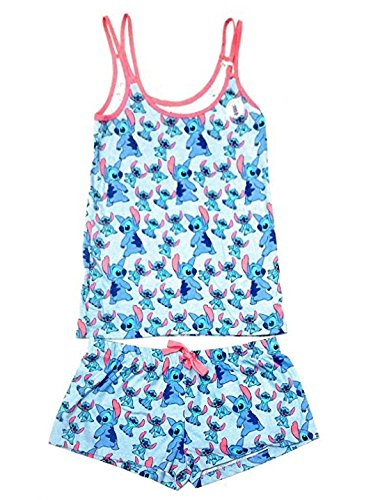 Disney Lilo & Stitch Ladies Girls Womens Top and Shorts Pajamas Pyjamas PJ Set UK S-XL (Pattern 1, S) -