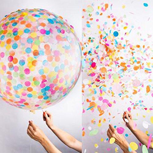 Juguetes Creativos, Zantec Globos de confeti redondo de 36 'Globos de látex rellenos de papel de crepà colorido para el banquete de boda decorativos