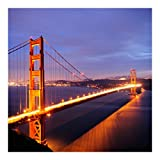 Vliestapete–Golden Gate Bridge bei Nacht–Wandbild quadratisch