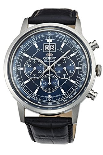 Orient big-date Classic Chronograph Quarz Kleid Armbanduhr tv02003d