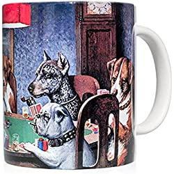 """Taza mug desayuno de cerámica blanca 32 cl. con impresión de obra de arte cuadro """"Un amigo necesitado"""" autor C.M. Coolidge"""