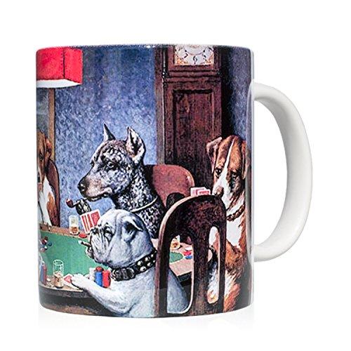 Tasse Mug petit-déjeuner en céramique blanche 32 cl. avec œuvre d'art imprimée Un ami dans le besoin, auteur C. M. Coolidge.