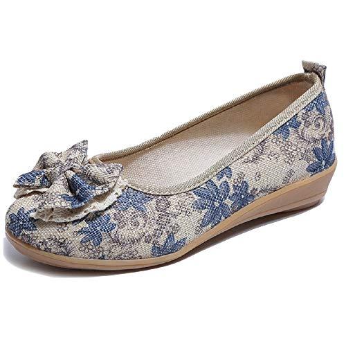 Bequeme Ferse Frau Mode Plattform Lederschuhe, geeignet for alle Jahreszeiten Flache Zehe Runde (Farbe : Lila, Größe : EU 36)