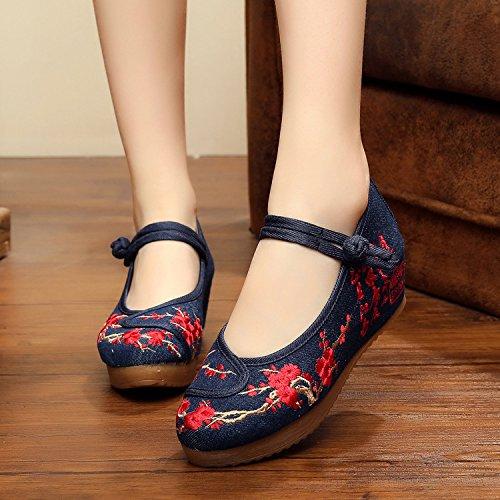 DESY scarpe ricamate d'inchiostro, biancheria, unico tendine, stile etnico, scarpe femminili, moda, comodi, scarpe di tela 5 centimetri denim blue