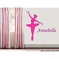 Personalised Ballerina Dance - LARGE - WALL ART VINYL STICKERS - 118cm x 115cm Black