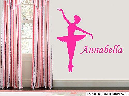 Personalizzato Ballerina Dance-Large-Adesivi da Parete in Vinile-118cm x 115cm, colore: nero