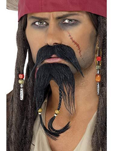 Luxuspiraten - Kostüm Accessoires Zubehör Piraten Gesichtshaar Set mit Schnurrbart und Bart, perfekt für Karneval, Fasching und Fastnacht, Schwarz