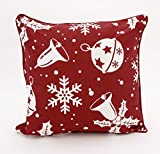 Adam Linens 100% Cotton Printed Christmas Festive Design Cushion Cover Snow Red